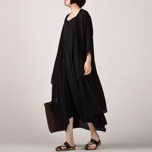 stylish black two pieces long cotton dresses plus size asymmetric coat cardigan cotton clothing and Fine sleeveless kaftans