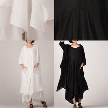Load image into Gallery viewer, stylish black two pieces long cotton dresses plus size asymmetric coat cardigan cotton clothing and Fine sleeveless kaftans