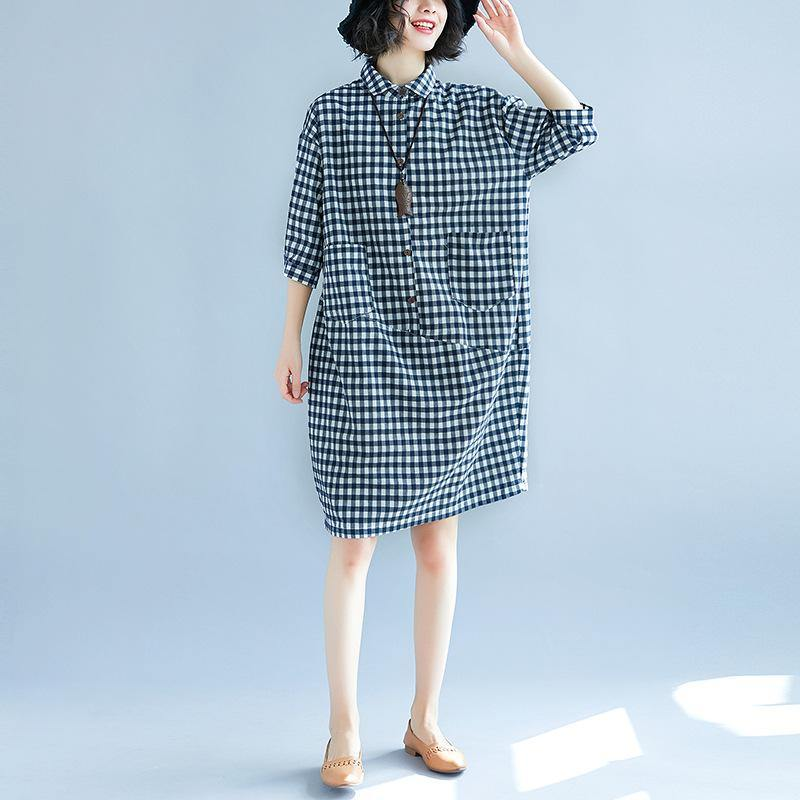 stylish blue plaid linen shift dress casual traveling clothing 2018patchwork lapel collar cotton clothing