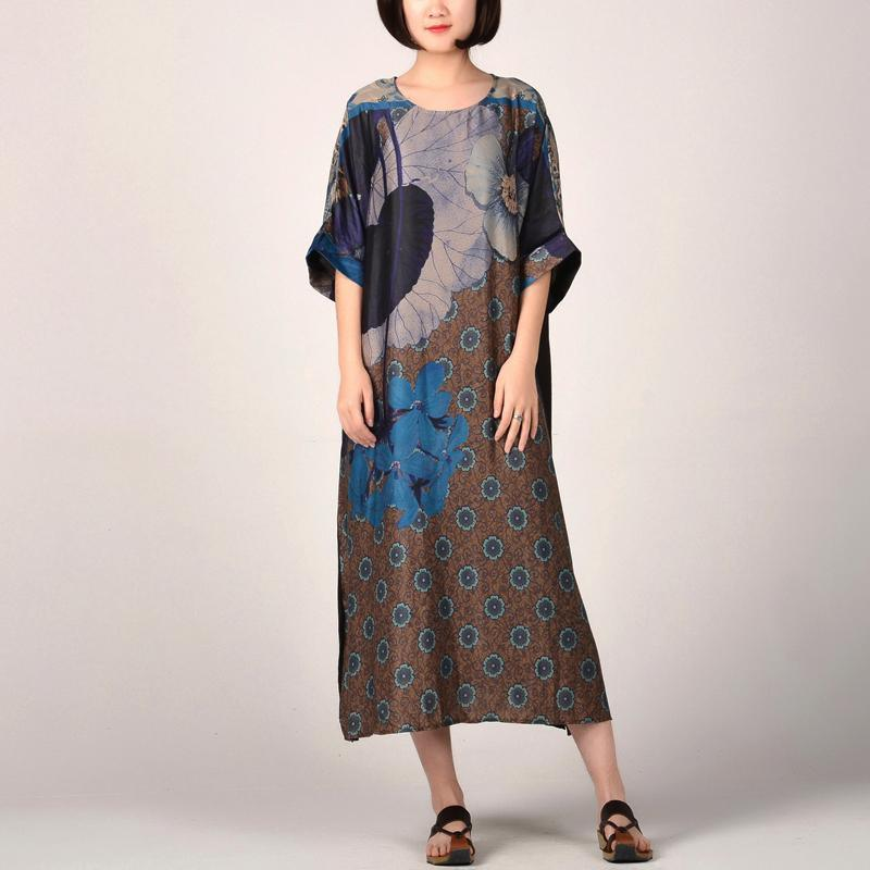 stylish blue prints silk maxi dress oversize side open traveling dress vintage patchwork maxi dresses