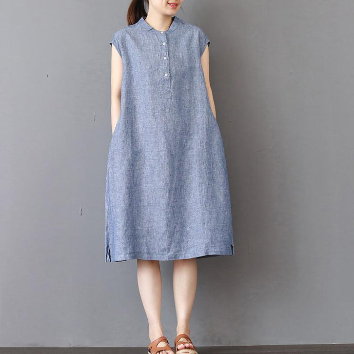 stylish blue pure linen dress plus size shirt dress New sleeveless stand collar cotton dresses