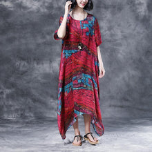 Load image into Gallery viewer, stylish cotton caftans oversized Short Sleeve Casual Two-piece Summer Long Dress