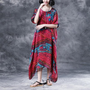 stylish cotton caftans oversized Short Sleeve Casual Two-piece Summer Long Dress