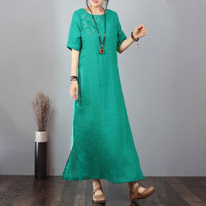 stylish cotton dresses Loose fitting Cotton Linen Embroidered Green Short Sleeve Dress