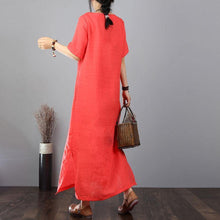 Load image into Gallery viewer, stylish cotton dresses Loose fitting Cotton Linen Embroidered Green Short Sleeve Dress