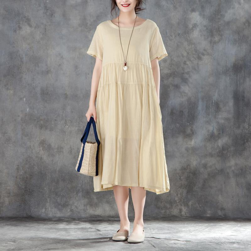 stylish cotton gown plus size clothing Casual Summer Round Neck Short Sleeve Yellow Dress