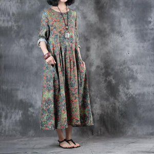 stylish floral  linen maxi dress plus size patchwork linen gown top quality pleated gown