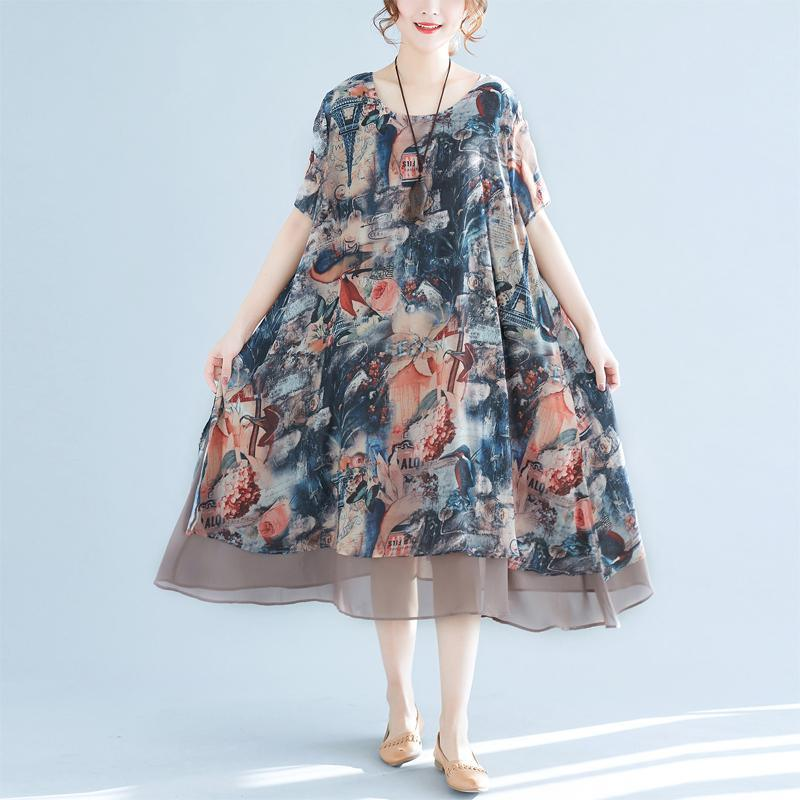 stylish floral long chiffon dress casual short sleeve gown Fine big hem kaftans