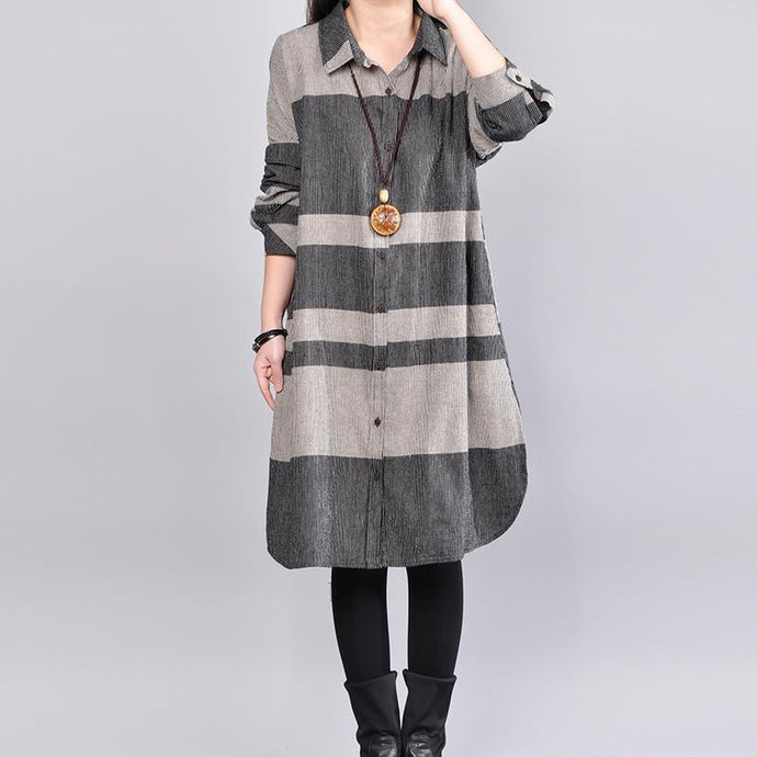 stylish gray pure linen dresses  plus size linen clothing dresses women lapel collar patchwork shirt dress