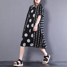 Load image into Gallery viewer, stylish linen dress casual Loose Splicing Dots Short Sleeve Stripe Black Dress