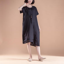 Load image into Gallery viewer, stylish linen dresses plus size clothing Short Sleeve Fake Two-piece Summer Casual Black Dress