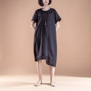 stylish linen dresses plus size clothing Short Sleeve Fake Two-piece Summer Casual Black Dress