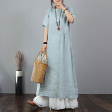 Load image into Gallery viewer, stylish linen dresses trendy plus size Embroidery Cotton Linen Short Sleeve Blue Long Dress
