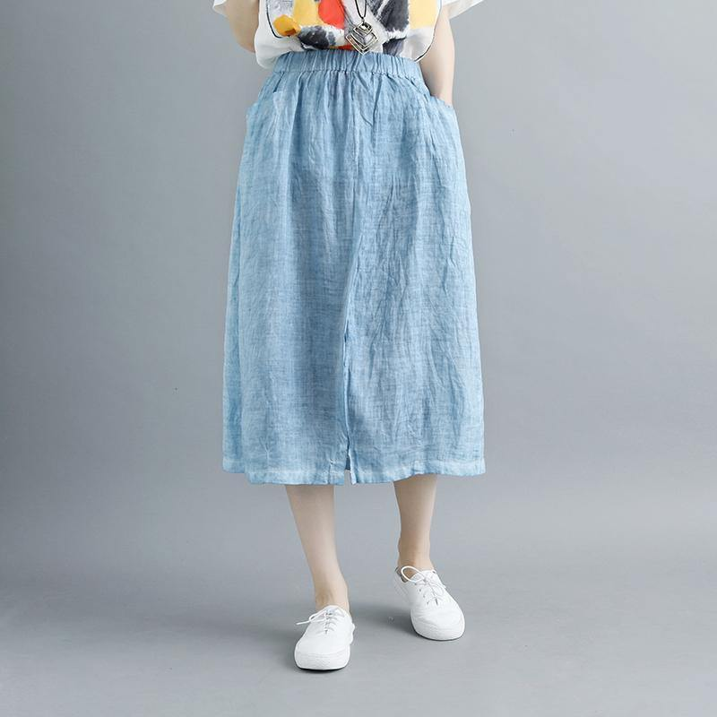 stylish linen knee skirt plus size Casual Slit Literary Pockets Long Blue Skirt