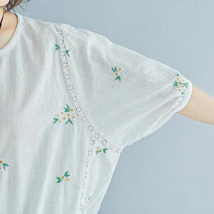 stylish natural linen t shirt plus size Flower Embroidery Summer Short Sleeve White Blouse