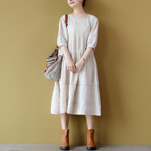 Load image into Gallery viewer, stylish nude linen dress plus size clothing wrinkled cotton dresses boutique hollow out gown