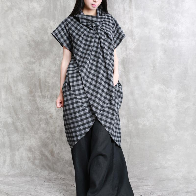stylish plaid cotton tops plus size cotton maxi t shirts 2018 short sleeve asymmetric cotton shirts