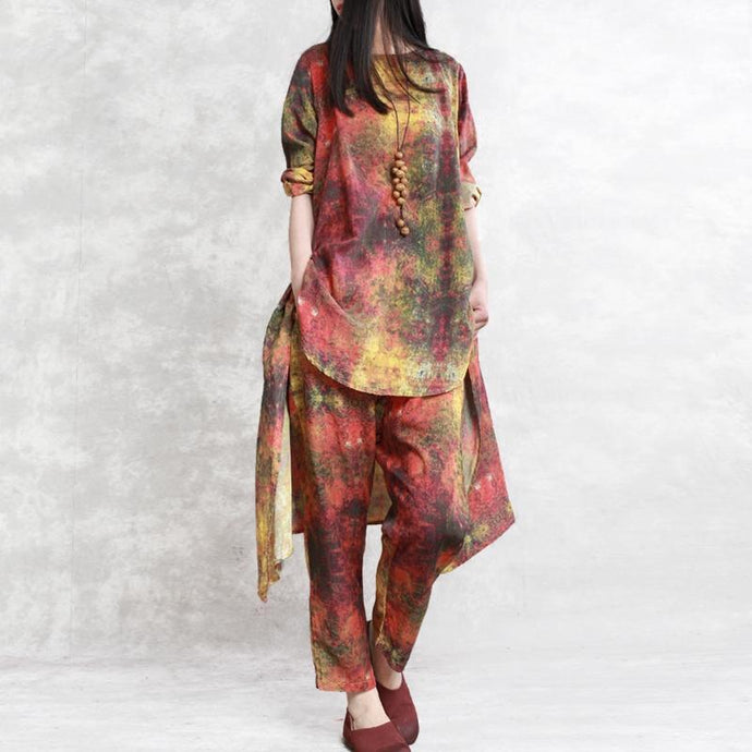 stylish prints women linen asymmetric pullover tops and casual wide leg pant two pieces