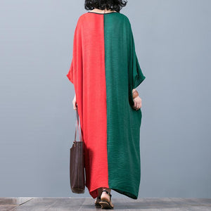 stylish red green patchwork  long silk dress casual o neck silk maxi dress top quality batwing sleeve gown