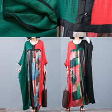 Load image into Gallery viewer, stylish red green patchwork  long silk dress casual o neck silk maxi dress top quality batwing sleeve gown