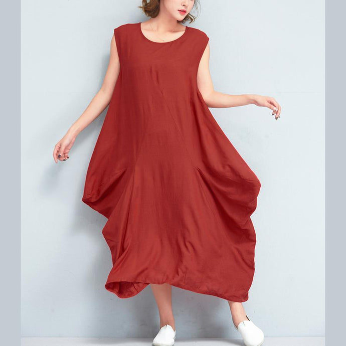 stylish red long linen dresses Loose fitting sleeveless linen gown casual asymmetric gown