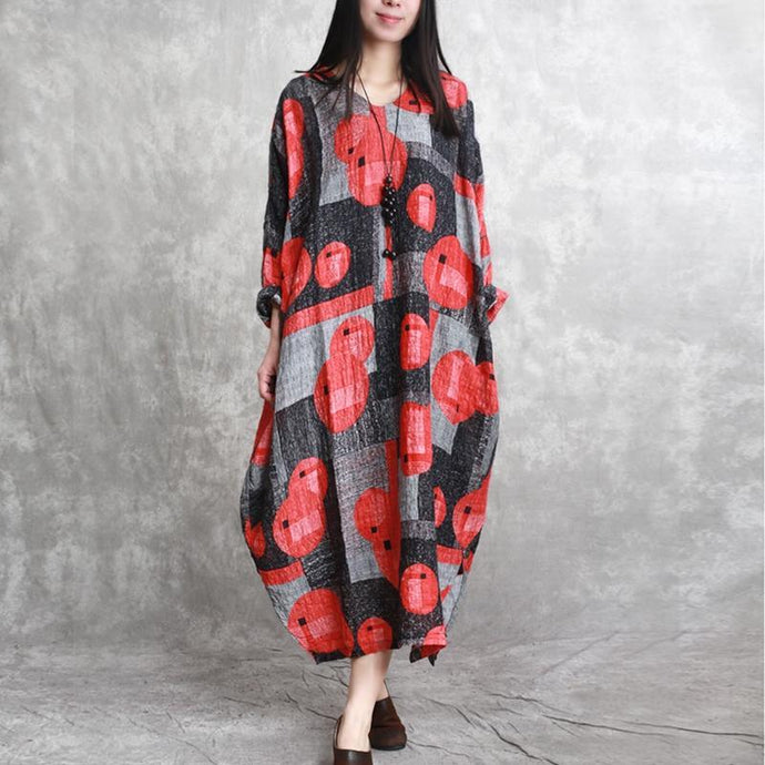 stylish red prints linen caftans oversize asymmetric linen clothing dress casual v neck maxi dresses