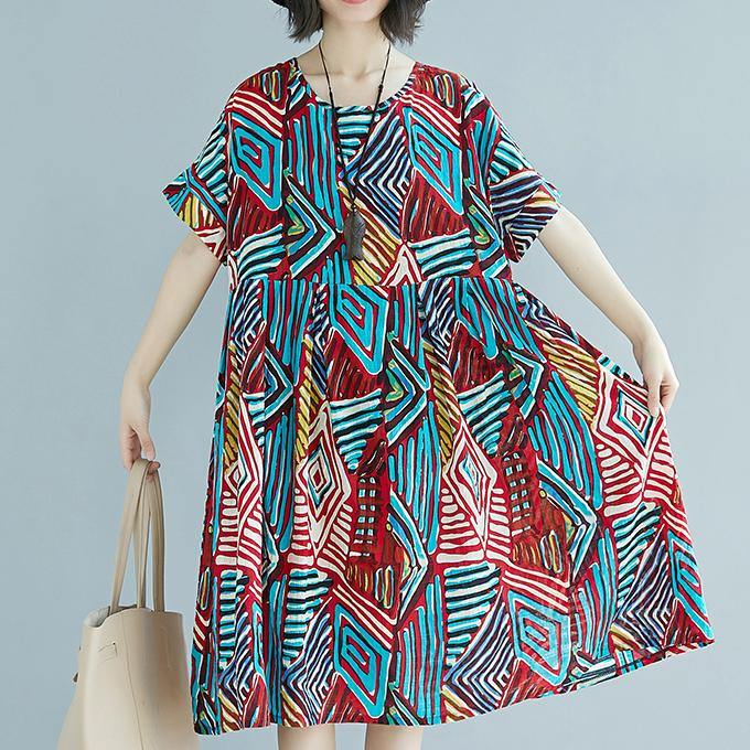 stylish red prints  linen shift dress plus size clothing traveling clothing Elegant o neck patchwork linen cotton dress