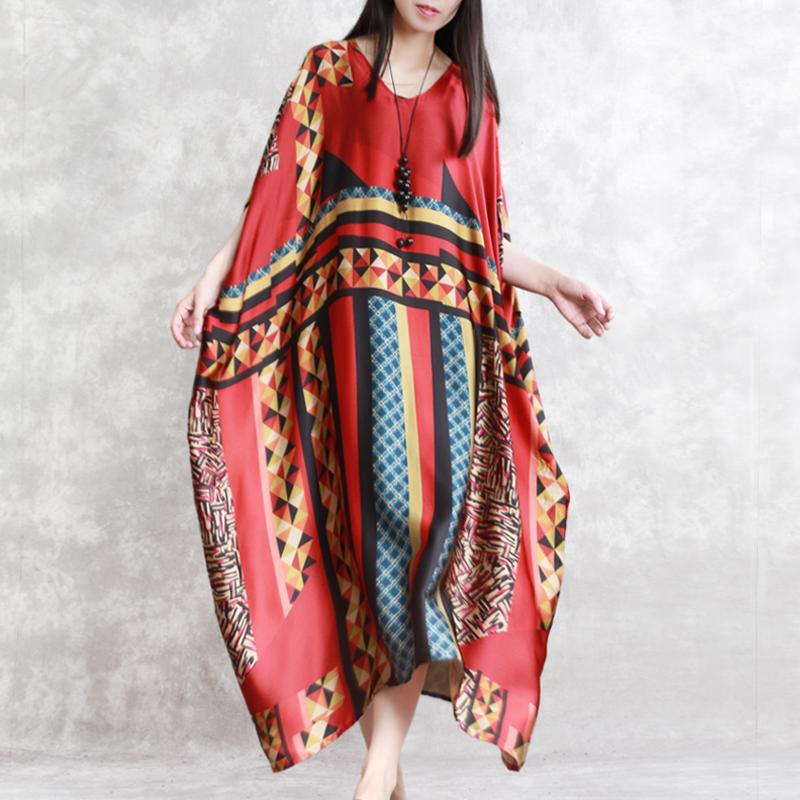 stylish red prints silk maxi dress oversized v neck silk maxi dress Elegant batwing sleeve gown