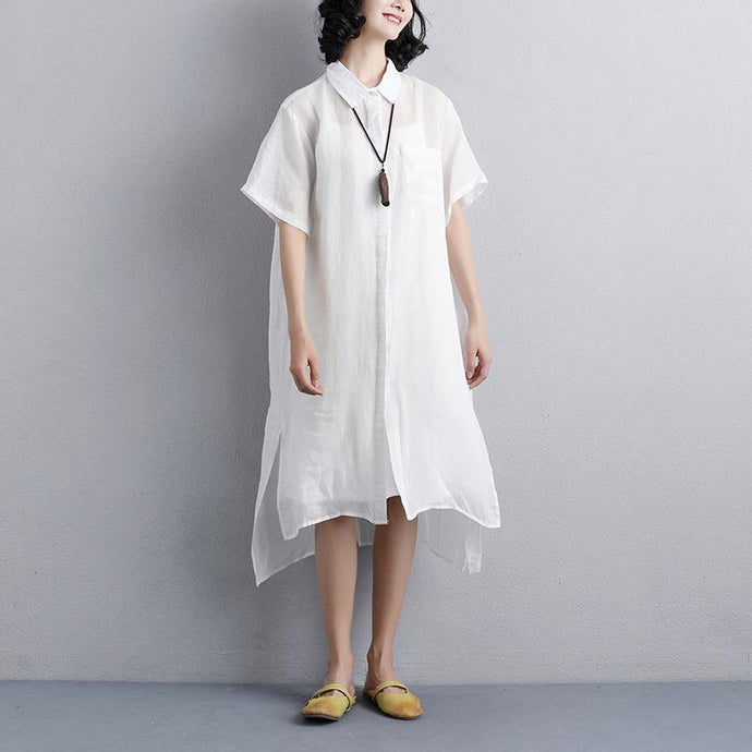 stylish summer dress plus size Casual Polo Collar White Short Sleeve Shirt Dress