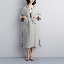 Load image into Gallery viewer, stylish summer dresses plus size Loose V Neck 12 Sleeve Gray Knitting Dress