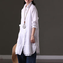 Load image into Gallery viewer, stylish white linen tops Loose fitting casual cardigans Elegant lapel collar patchwork natural linen pullover