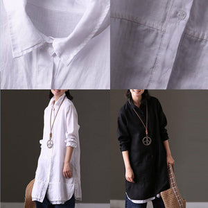stylish white linen tops Loose fitting casual cardigans Elegant lapel collar patchwork natural linen pullover