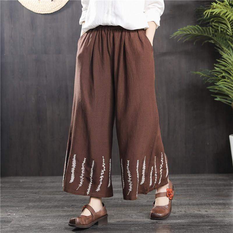 summer brown linen casual wide leg pants loose plus size embroidery trousers