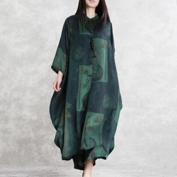 summer new green prints blended silk long shirts and elastic waist fashion two pieces