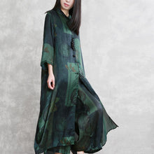 Load image into Gallery viewer, summer new green prints blended silk long shirts and elastic waist fashion two pieces