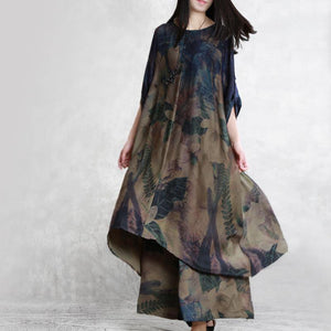 summer vintage silk fashion two pieces loose hem tops and wide leg pants
