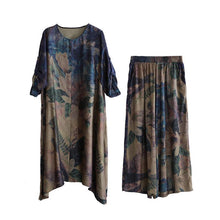 Load image into Gallery viewer, summer vintage silk fashion two pieces loose hem tops and wide leg pants