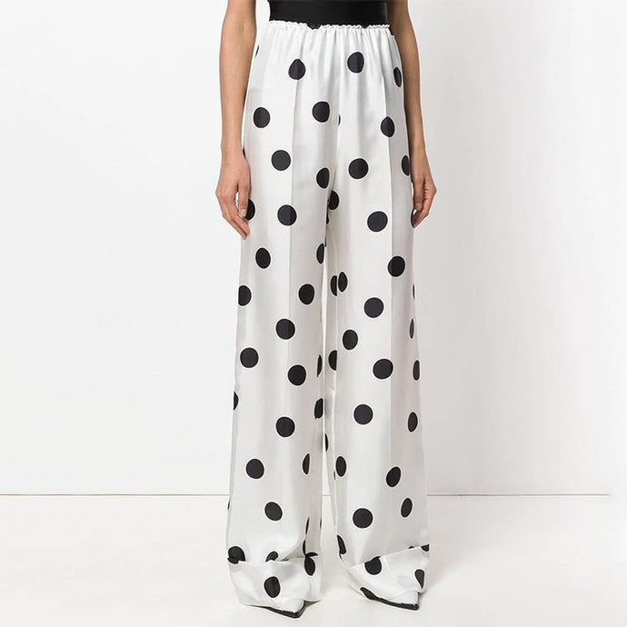 summer white dotted casual trousers elastic waist women wide leg pants