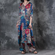 Laden Sie das Bild in den Galerie-Viewer, summer blue prints cotton blended side open tops and elastic waist wide leg pants two pieces