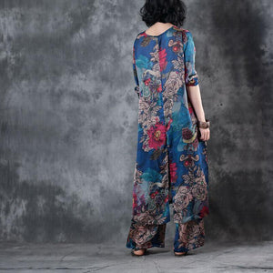 summer blue prints cotton blended side open tops and elastic waist wide leg pants two pieces