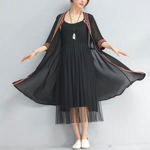 summer fashion black chiffon coat plus size embroidery sundress half sleeve cardigan