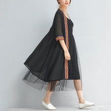Load image into Gallery viewer, summer fashion black chiffon coat plus size embroidery sundress half sleeve cardigan