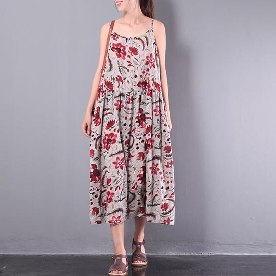 summer floral cotton dresses plus size casual sundress sleeveless maxi dress