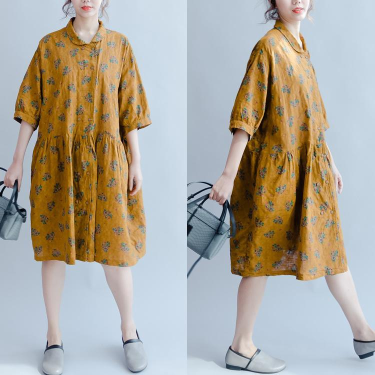 summer new floral dresses yellow plus size linen sundress puff sleeve mid dress