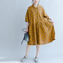 Load image into Gallery viewer, summer new floral dresses yellow plus size linen sundress puff sleeve mid dress