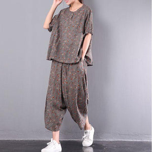 summer new gray print two pieces shot sleeve casual tops and loose harem pants