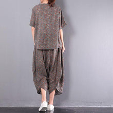 Load image into Gallery viewer, summer new gray print two pieces shot sleeve casual tops and loose harem pants