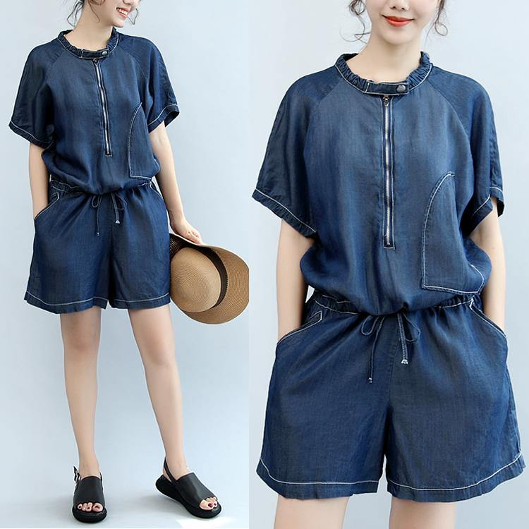 summer new navy stylish cotton short sleeve tops and casual jumpsuit shorts