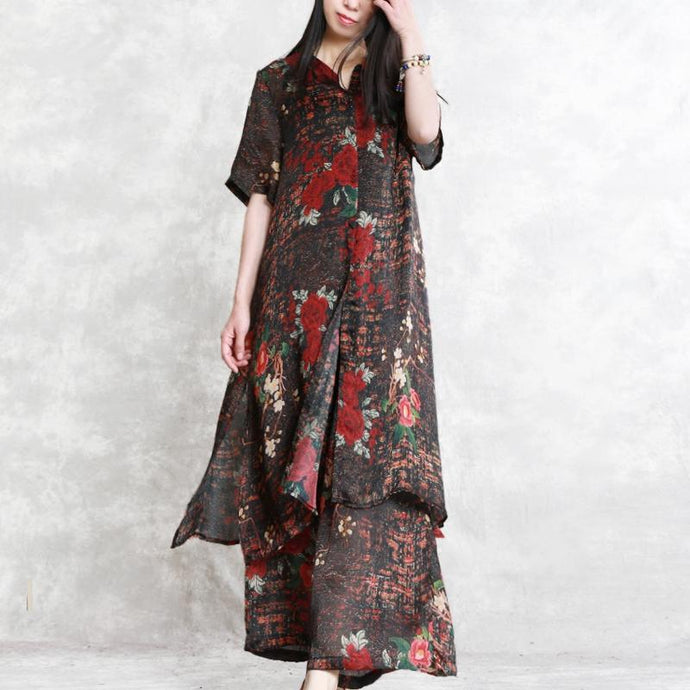 summer new silk casual two pieces short sleeve long shirt with elastic waist wide leg pants