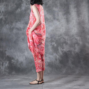 summer red print traveling linen two pieces sleeveless loose tops and casual crop pants
